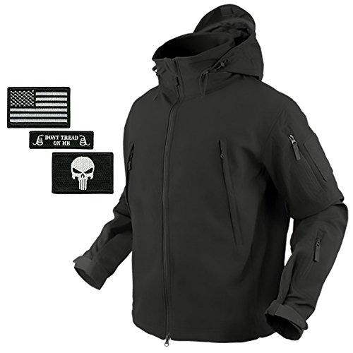 (Bundle (Black) Condor Summit Softshell Tactical Jacket + 3 Morale Patches)