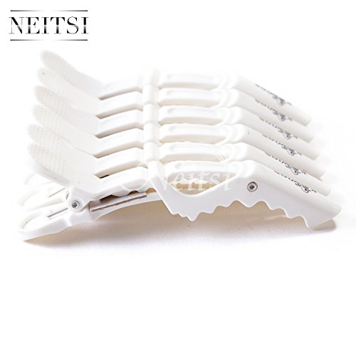 Neitsi® White Color Plastic Salon Croc Clips Hair Styling Hair Clamps (12pack)