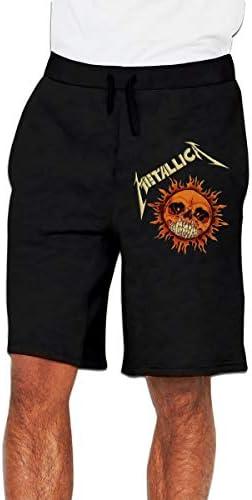 メタリカ Metallica 火のスカル ハーフパンツ メンズ ショートパンツ フィットネス トレーニングウェア 吸汗速乾