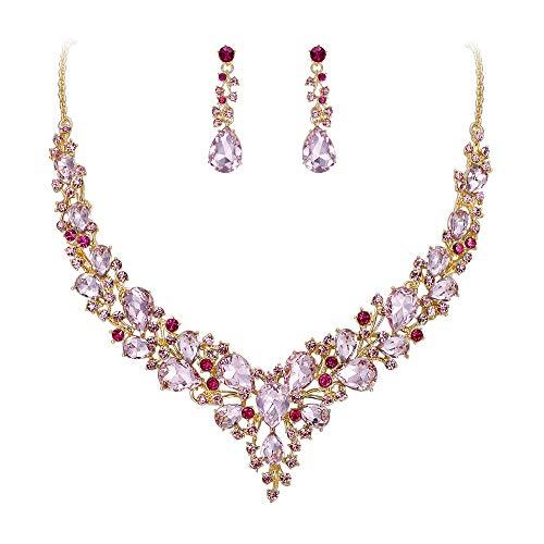 BriLove Wedding Bridal Necklace Earrings Jewelry Set for Women Austrian Crystal Teardrop Cluster Statement Necklace Dangle Earrings Set Pink Gold-Toned