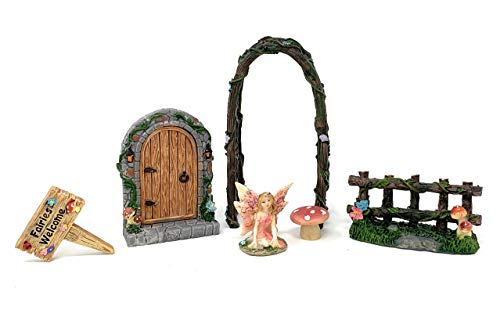(Clever Home Fairy Garden Sets in Resin with Fine Detailing (Miniature Fairies Welcome - Arch, Sign, Door, Fence, Fairy, and Mushroom))