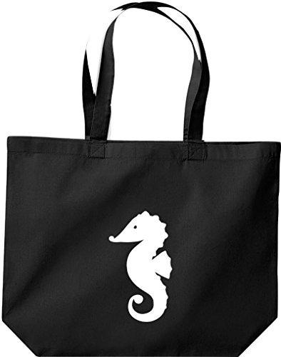 shirtinstyle Grande Bolsa De Compras Sailing motivos CABALLITO negro
