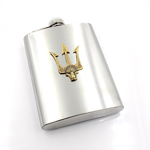 Poseidons-TRIDENT-Flask-8-oz-g-Percy-Jackson-Camp-Half-Blood-Fantasy-Once-Upon-a-Time-Stainless-Steel-Metal-GlazedBlackCherry