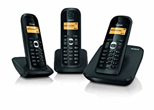 Siemens Gigaset AS200 TRIO - Teléfono fijo inalámbrico (SMS, 10 melodías timbre, guía telefónica 60 contactos ), Negro