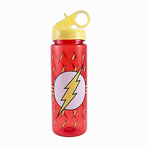 Silver Buffalo FL0464 DC Comics The Flash All Over Logo Tritan Water Bottle, 20-Ounces - Logo Water Bottle