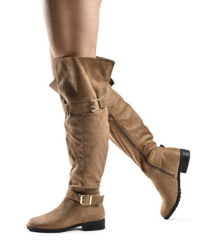 Up LUSTHAVE Pull Low Block Heel Knee Over Comfort Knee Boot The Boots Riding Suede On Taupe Stacked Heel Stacked High Zip Jane Chunky Heel vr0pv