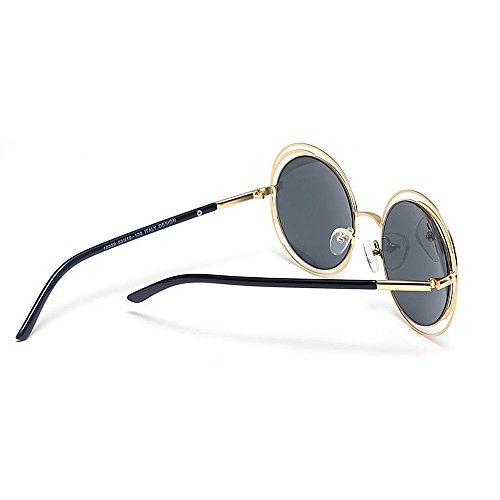 Lente Marco Protección Viajar UV Peggy Color Gris Aire Sol de Gris Gafas al Libre Color Marco de Estilo Conducción metálico Gu Redondo Retro H70Xq