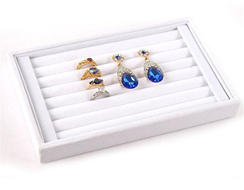 (Mvchif 7 Slots Velvet Ring Tray Earrings Studs Show Case Jewelry Display Organizer Stackable Storage Box for Women (White))