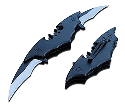 "11"" DUAL BLADE GRIP HANDLE Bat Style Batman Folding Double Pocket Knife & Belt Clip!"