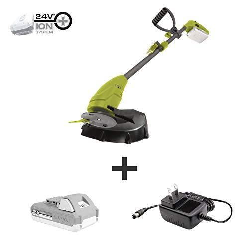 Sun Joe 24V-GT10-LTE 24-Volt iON+ 10-inch Cordless Lightweight Stringless Grass Trimmer, Kit (w/ 2.0-Ah Battery + Charger)