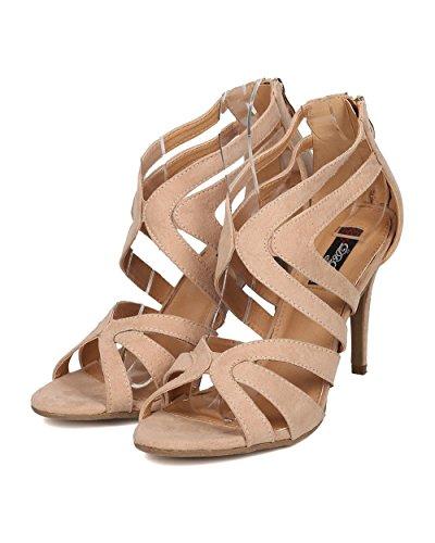 Dbdk Eh81 Donna Faux In Pelle Scamosciata Peep Toe Con Stiletto Sandalo - Nudo