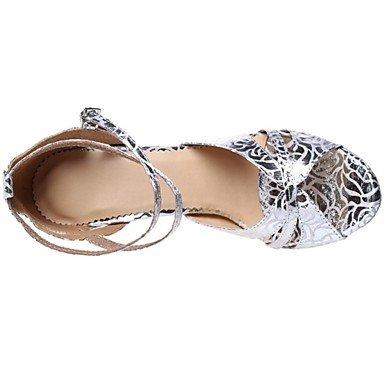 XIAMUO Angepasste Frau Silber Kunstleder Ballroom Dance Schuhe, Silber, Us7.5/EU38/UK5.5/CN 38
