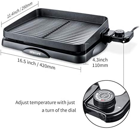 Electric Indoor Grill, Smokeless Griddle Pan Nonstick 14 inch, 1500W Detachable Contact Grilling with Smart 5-Heat Controller, Family Size BBQ Tabletop Plate Black