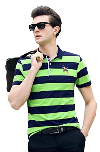 PuHao (プハオ) メンズ ポロシャツ 半袖 夏  ボーダー カジュアル スポーツウェア ゴルフウェア シンプル 通気性 薄手 吸汗 polo ファッション カッコイイ Tシャツ (グリーン14, 3XL)