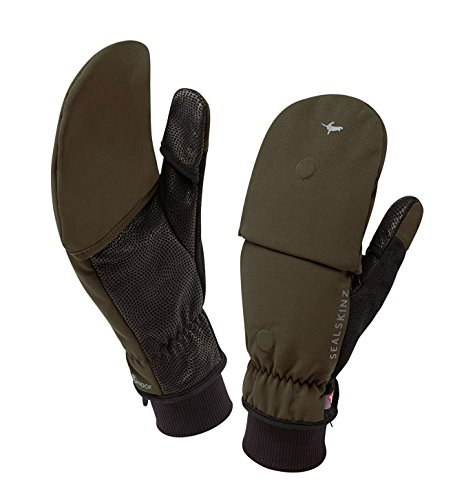 SEALSKINZ Unisex Windproof Cold Weather Convertible Mitt, Olive Green/Black, One Size ()