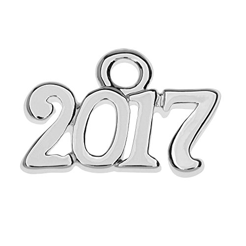 Delight Beads Silver Plated Charm, Year 2017 9.3x14.5mm, 1 Piece, ()