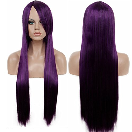 80's Costumes Diy (Diy-Wig Lolita Purple Long Straight Cosplay Wig Halloween Costume Wig for Women (80cm/31in,Purple))