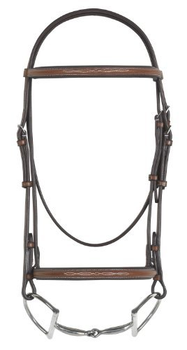 (Pessoa Fancy Padded Bridle w/Reins Horse Dk Brown)