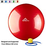 Black Mountain Products Static Strength Exercise Stability Ball with Pump, Red, 55cm/2000 lb