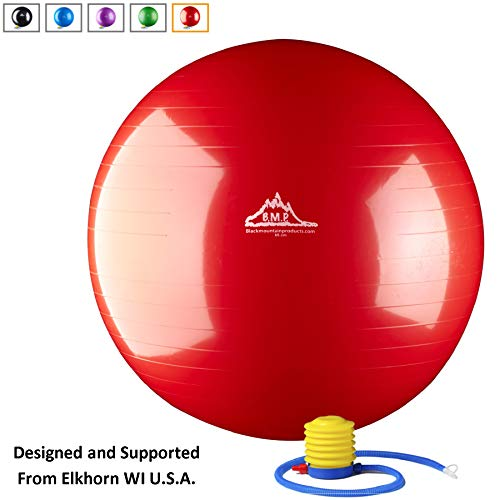 Black Mountain Products Static Strength Exercise Stability Ball with Pump, Red, 65cm/2000 lb]()