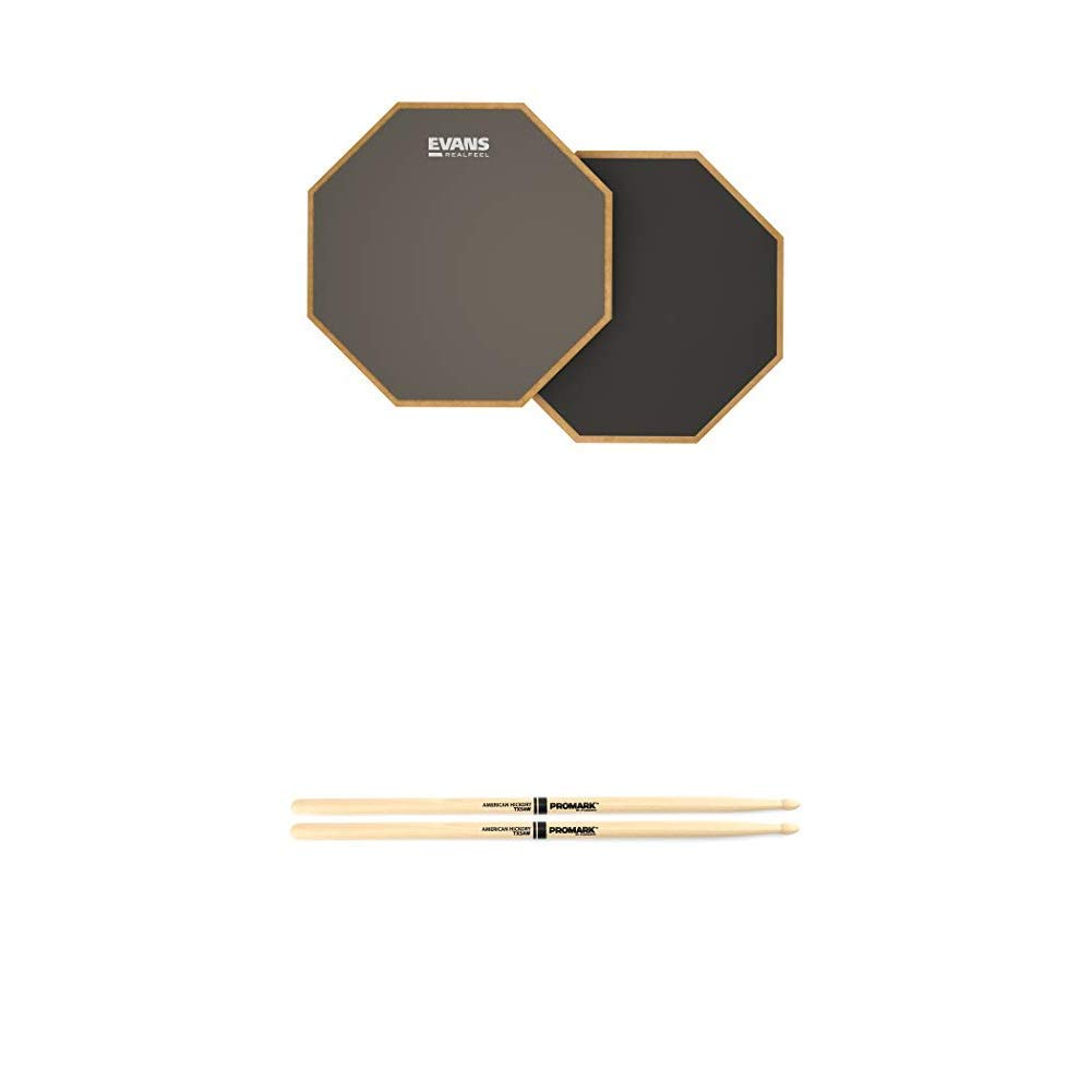Evans Realfeel 2-Sided Practice Pad, 12 Inch & Promark American Hickory Classic 5A Drumsticks, Single Pair