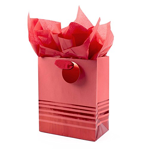 Bags Gift Foil - Hallmark Medium Gift Bag with Tissue Paper (Red Foil Stripes)