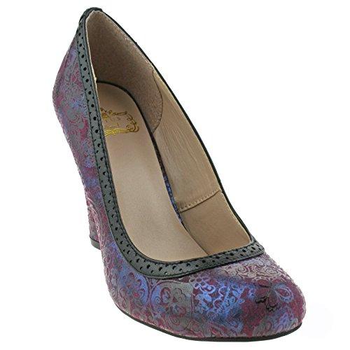 Court 40 Heeled Print Hallmark UK Ladies Purple 7 EU Elexis Shoes Burgandy Lotus nT0w7qx