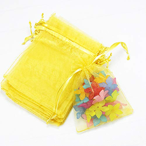 Outdoorfly 50PCS Drawstring Organza Bags 5x7 Inches Yellow Transparent Jewelry Favor Pouches Baby Shower Party Wedding Gift Bags Chocolate Candy Bags(50PCS Yellow) (Baby Shower Party Favors Yellow)
