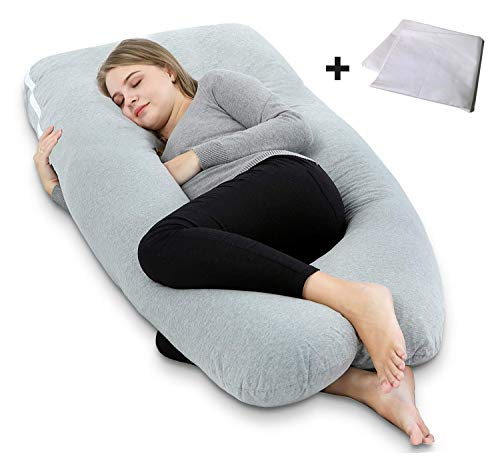 Ang Qi Pregnancy Pillow, U Shaped Maternity Pillow for Pregnant Women with Body Pillow Jersey Cover and Vest Cover