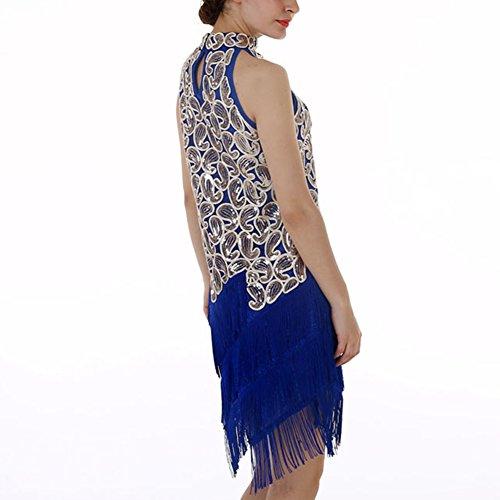 Femmes Art Déco Pompon Garçonne Sequin Paisley Bleu Brillant Robe De Soirée Licol