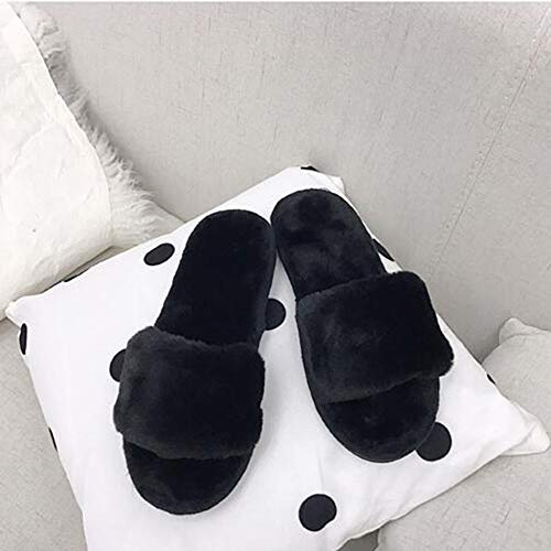 Comfortable Anti-Slip Warm Indoor Slippers Women Shoes Winter Slipper Black 40-41