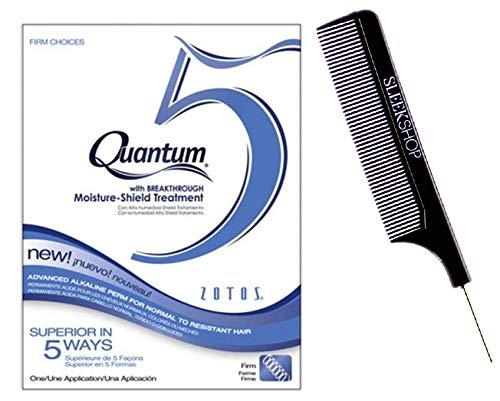 Zotos QUANTUM 5 FIRM CHOICES Advanced Alkaline Perm for Normal to Resistant Hair (with Sleek Steel Pin Tail Comb) Moisture-Shield Treatment (FIRM CHOICES) (Quantum Firm Perm)
