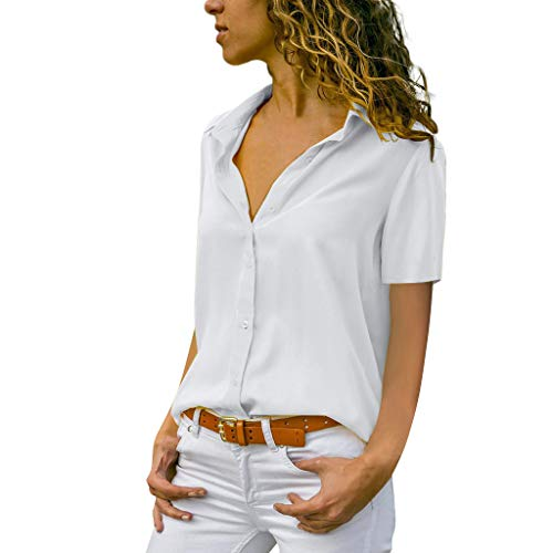 Fashion Womens Solid T-Shirt Office Ladies Plain Short Sleeve Blouse Top