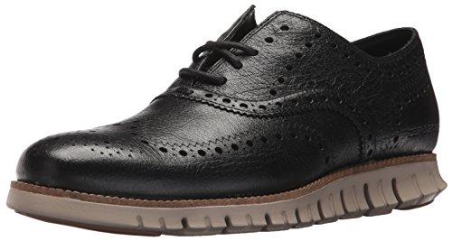 Cole Haan Men's Zerogrand Wing OX Leather Oxford, Black/Buffalo Check/Cobblestone, 8 Medium US