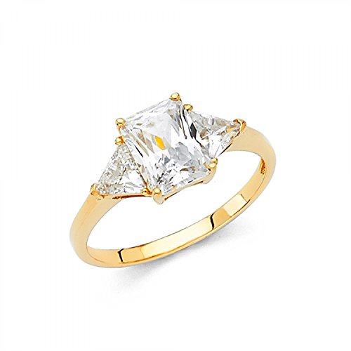 Size 6.5 - Solid 14k Yellow Gold 3 Three Stone Emerald-Cut / Shape Solitaire with trillion shape Side Stones, Authenticated with a 14k Stamp Engagement Ring 2.5ct. ()