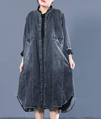 Jacket Trench Distressed Down Curved Women Button Yesno Hemline WL6 Loose Coat Blue Denim Casual X6TfxnwRAq
