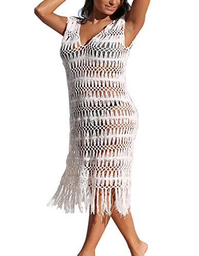 Crochet Cover Up Womens Sexy Sleeveless Knit Long Summer Beach Swim Coverup with Tassel White