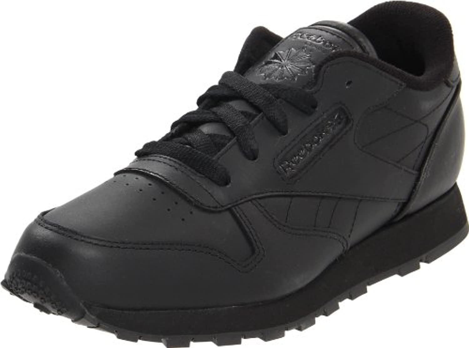 Reebok Classic Leather Black Black Youths Trainers Size 3 UK