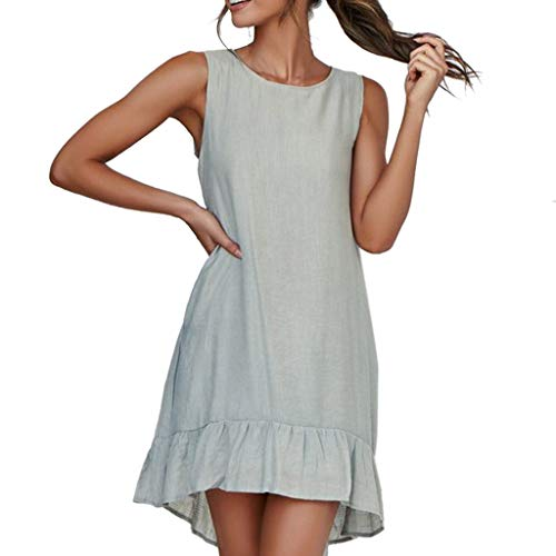 Alangbudu Women Casual T Shirt Dresses Beach Cover up Plain Pleated High Low Asymmetrical Ruffle Hem Tunic Shirt Dress Green ()