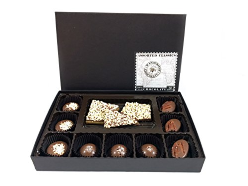 Classic Caramel Toffee (Milk Chocolate Assorted Classics - Almond Toffee, Peanut Butter Cups, Salted Caramels, and Pecan Turtles, 12 Piece Box by Wanderlust Chocolate)