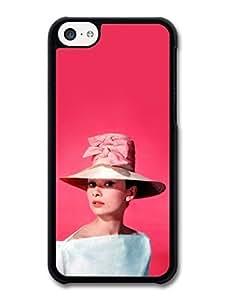 MMZ DIY PHONE CASEAMAF ? Accessories Audrey Hepburn Wearing Pink Hat case for ipod touch 5