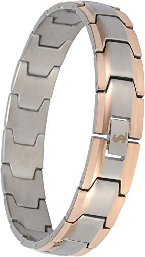 - Elegant Surgical Grade Steel Men's Wide Link Stylish Bracelet, 4 Colors to Choose from (Silver & Rose Gold)