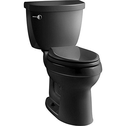 Kohler 1.6 Elongated Bowl (KOHLER K-3589-7 Cimarron Comfort Height Elongated 1.6 gpf Toilet with AquaPiston Technology, Less Seat, Black Black)