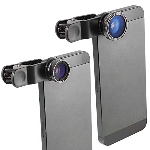 iShot Pro Universal 3 in 1 Camera Lens Kit for iPhone 4 4S 5 5S 5C 6 6 Plus and Many Other Smart Phones - Works With or Without a Case (including Samsung Galaxy S3 S4 Note 2 3 4, HTC, Motorola, Windows Phone, Tablets, iPad 2 3 4 5 Air Mini and Laptops - K