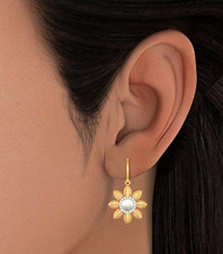 14K Or jaune 0,16CT TW White-diamond (IJ | SI) et blanc perle Pendants d'oreilles