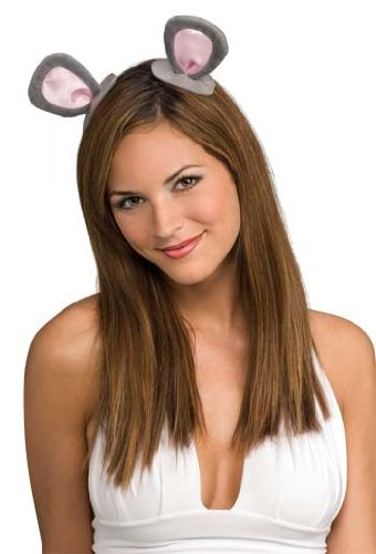 Rubie's Costume Co Mouse Ears on Clips Costume, One Size, Grey/Pink