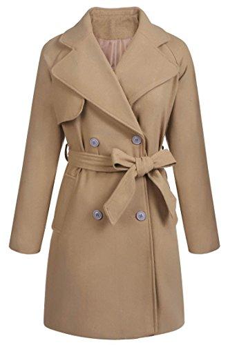 (Yayado Women Casual Trench Coat Wool Tie-Belt Drape Duster Coat Outwear)
