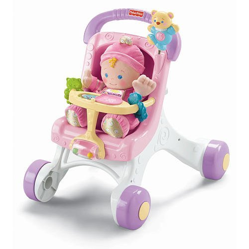 Fisher-Price Brilliant Basics Stroll-Along Walker with Baby's First Doll ()