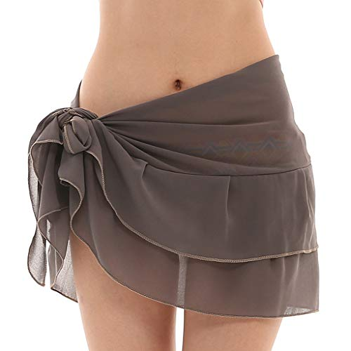 Terry Wrap Skirt - LUXISDE Skirts for Women Chiffon Sunscreen Shawl Beach Bikini Swimwear Wrap Coverup Skirt Swimsuit Gray