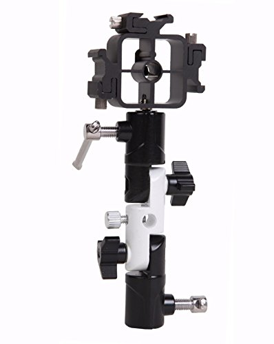 (EXMAX Full aluminum Pro Flash Hot Cold Shoe with Triple (3) flash mount head Umbrella Holder adapter mount with Swivel/Tilt Bracket 3 section U shape Studio Light Stand for Nikon and Canon Speedlight)